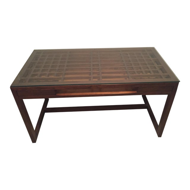 Crate & Barrel Wooden Desk - Image 1 of 4