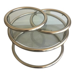 Milo Baughman Chrome Tiered Swivel Table