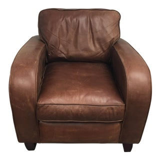 Brown Leather Art Deco Style Armchair by Raft Furniture