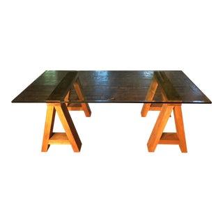 Wood & Beveled Glass Executive Desk