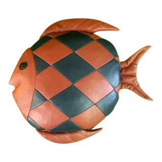 Vintage 1970's Leather Fish Pillow
