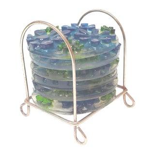 Pop Art Flowers Lucite Coasters - Set of 6