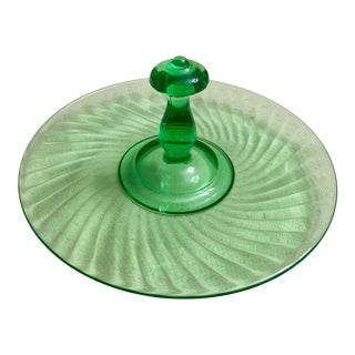 Kelly Green Depression Glass Swirled Candy Dish