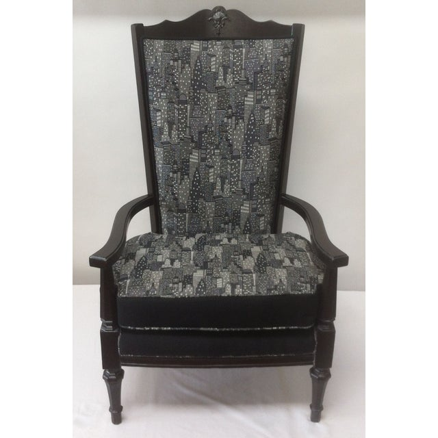 Vintage Armchair in Contemporary Cityscape Fabric - Image 2 of 4