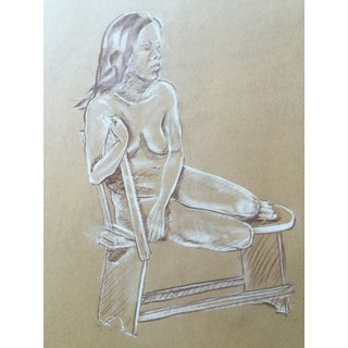 Mid Century Study of Seated Nude, Drawing
