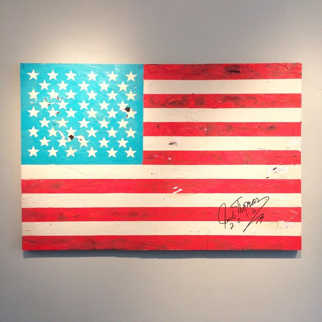 Jacob Thomas 'Distressed American Flag' Painting - Image 2 of 3