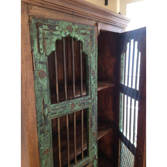 Moroccan Wooden Walnut Stained Armoire - Image 5 of 5