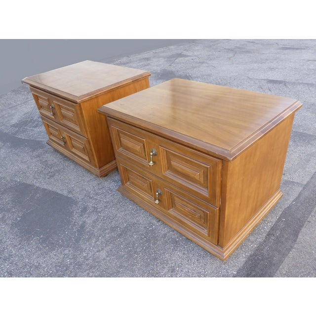 Mid Century Modern Drexel Two Drawer Solid Wood Nightstands - a Pair - Image 6 of 11