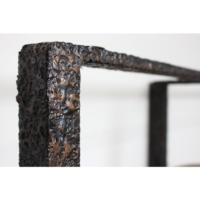 Minimalist Brutalist Fused Bronze, Iron and Concrete Patio Table Base - Image 10 of 10
