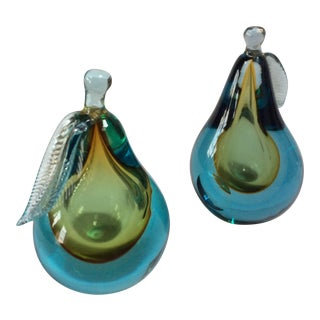 Green and Blue Barbini Murano Pears - A Pair