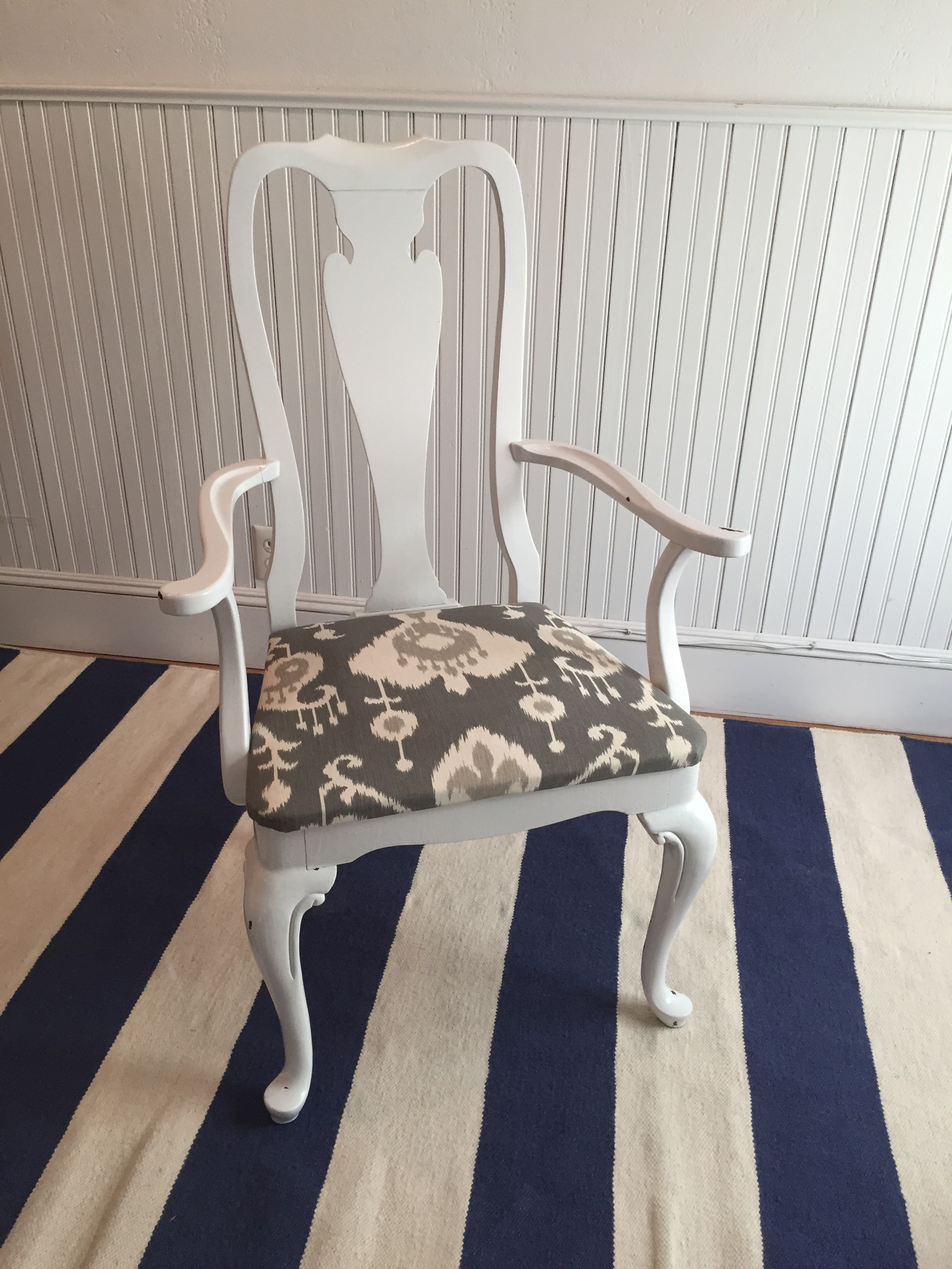 Queen Anne Style White Lacquer U0026 Gray Ikat Armchair   Image 3 ...