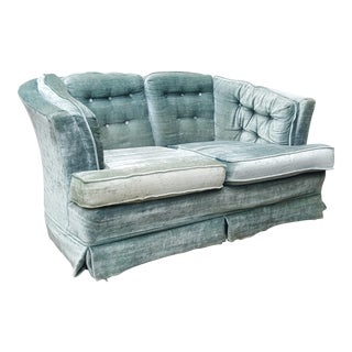 Hollywood Regency Curved Tufted Velvet Aqua Loveseat