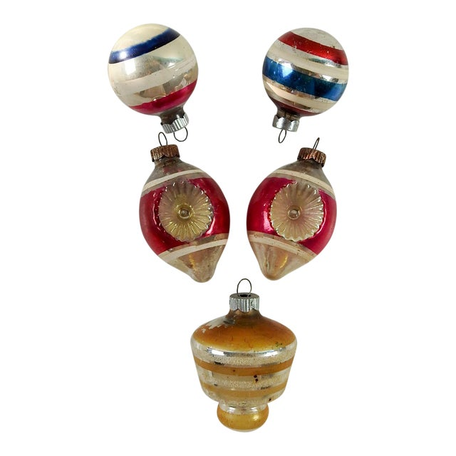 Group of Vintage Striped Christmas Ornaments - Set of 5 - Image 1 of 4