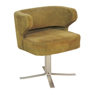 Modern Chrome Upholstered Swivel Desk Chair