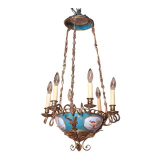19th Century French Six-Light Porcelain & Brass Hand Painted Sevres Chandelier