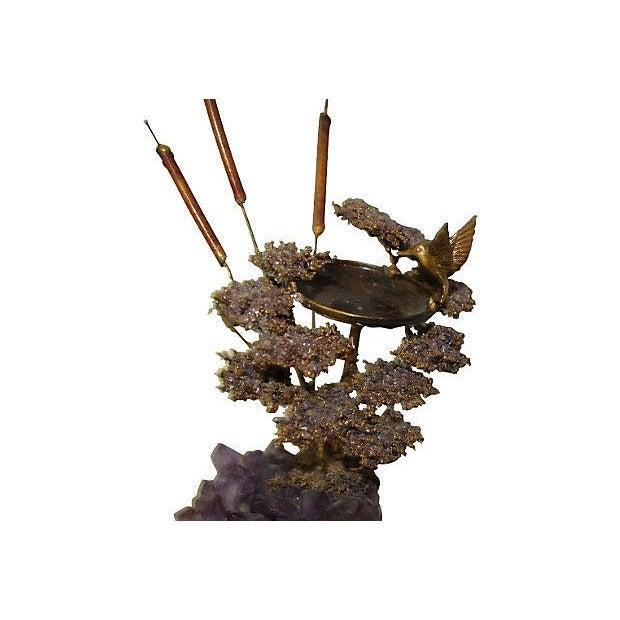 Amethyst Geode & Brass Bird Sculpture - Image 3 of 5