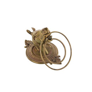 Antique Brass Horse Head w/ Towel Rack Ring
