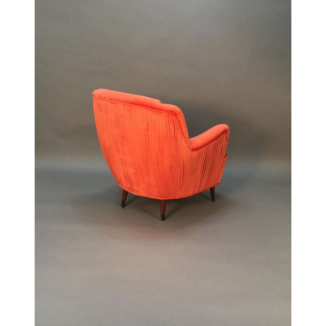 Mid Century Club Chairs With Velvet Pleat - Pair - Image 9 of 9