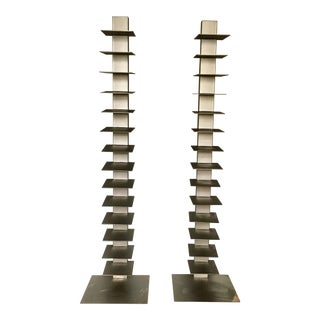 West Elm Metal Vertical Spine Bookcases - A Pair