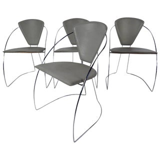 Italian Chrome & Leather Chairs - Set of 4