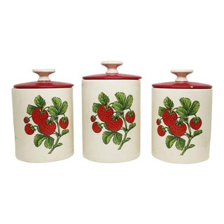 Ceramic Strawberry Jars With Red Lids - Set of 3
