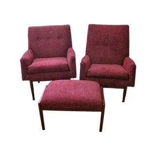 Jens Risom Male & Female Chairs & Ottoman - S/3
