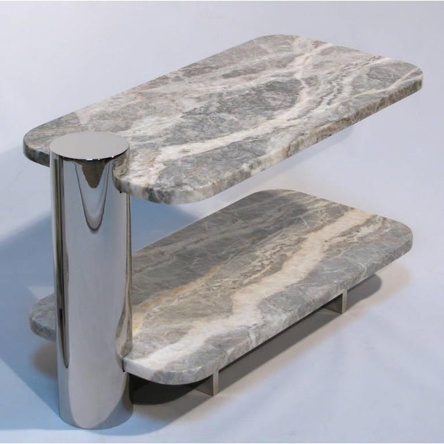 Image of Cantilvered Marble & Polished Steel Side Tables