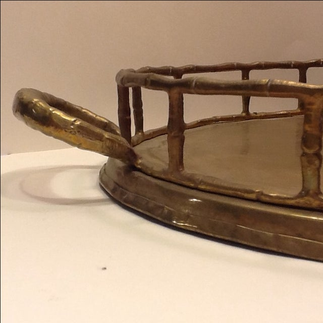 Vintage Brass Bamboo Style Tray - Image 3 of 4
