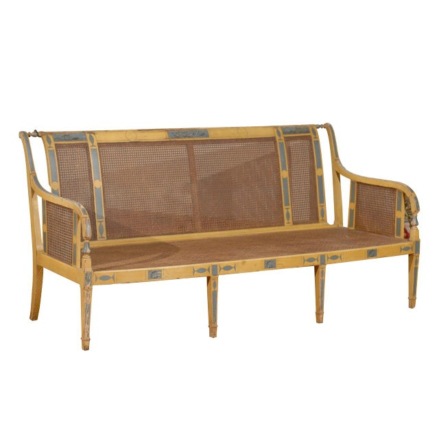 Gustavian Style Poly-Chrome Settee - Image 1 of 4
