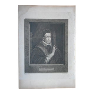 "Antique Copperplate Engraving-""Pope Innocent X"" By Velasquez-c.1806-Folio Size"