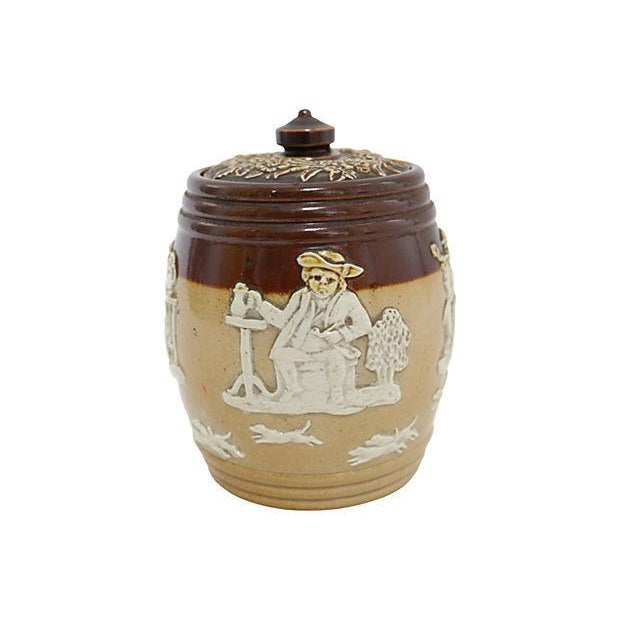 Image of Antique Doulton Stoneware Tobacco Jar