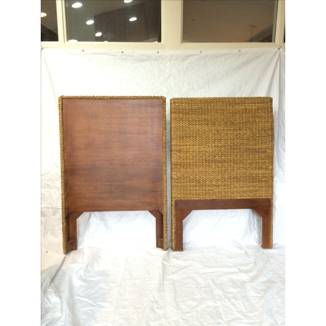 Woven Rattan and Teak Headboards - Pair - Image 3 of 9