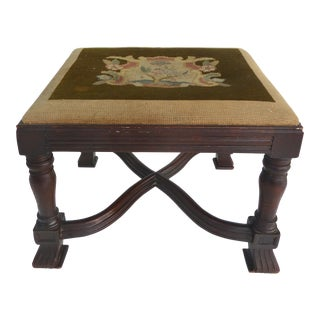 Antique Curved X Frame Footstool