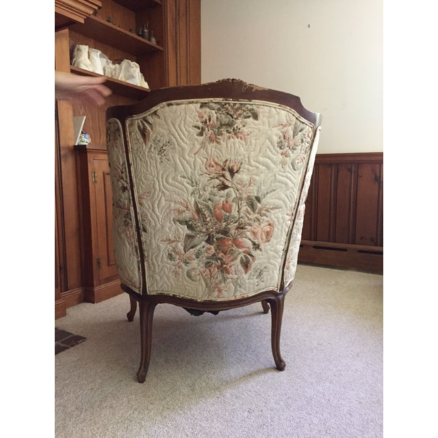 Image of French Country Louis XV Style Carved Walnut Silk Settee & Chair - A Pair