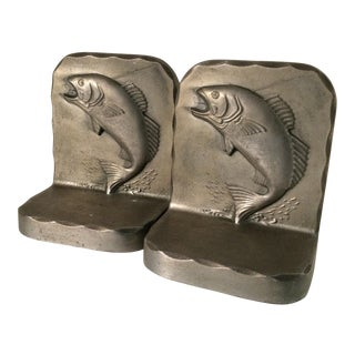 Cast Vintage 1960's Metal Jumping Bass Bookends - a Pair