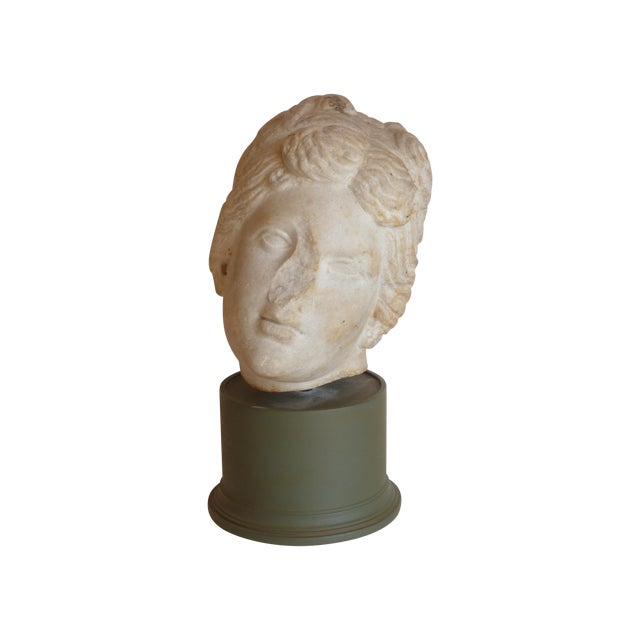 Carved Stone Head of Goddess - Image 1 of 5