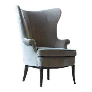 Grey Velvet Wingback Armchair