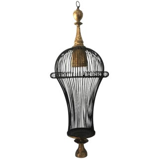 Modern Cage Style Gilt Metal Chandelier