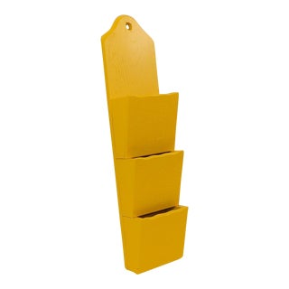 Yellow Wall-Mount Mail Sorter