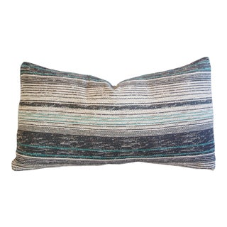 French Gray & Teal Woven Body Textile Pillow