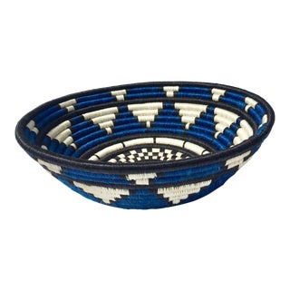 African Blue, White & Black Woven Basket