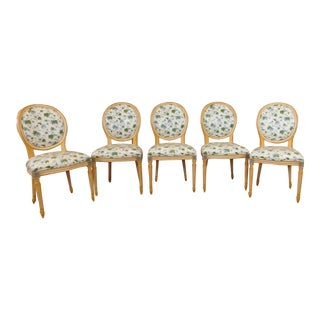 White Washed Maple French Louis XVI Style Dining Chairs - Set of 5
