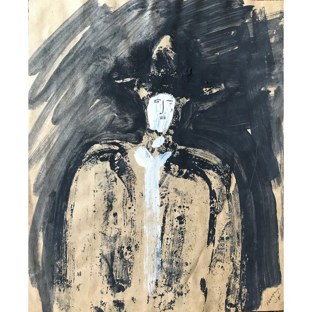 """1968 Jack Hooper """"Man With Hat"""" Painting - Image 1 of 8"""