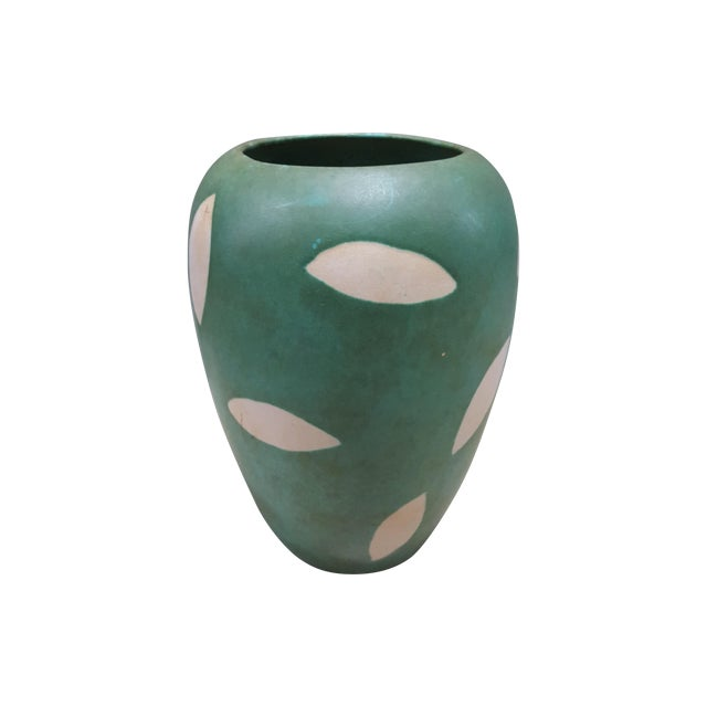 West Germany Green And Cream Pottery Vase - Image 1 of 3