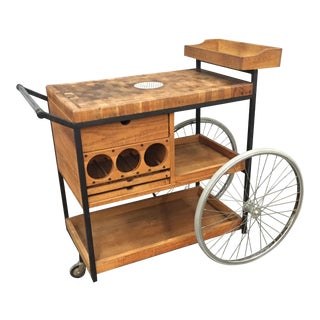 Arthur Umanoff Oak & Mahogany Bar Cart
