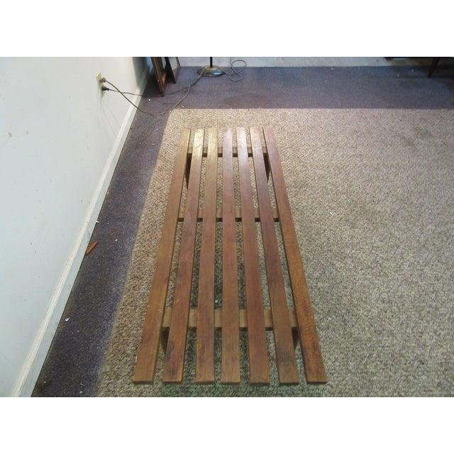 Danish Modern Walnut Slat Bench Coffee Table - Image 6 of 11