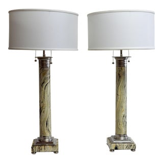 Neoclassical Faux Marble & Nickel Column Lamps With Shades - A Pair