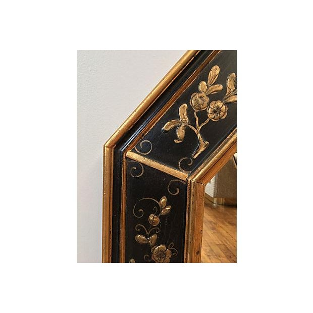 La Barge Vintage Hand Painted Black Gilded Mirror - Image 7 of 8