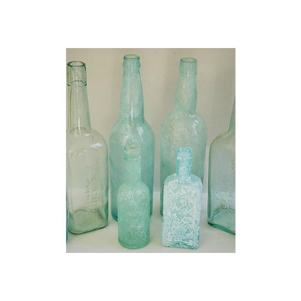 Image of Antique Mediterranean-Blue Bottles - Set of 8