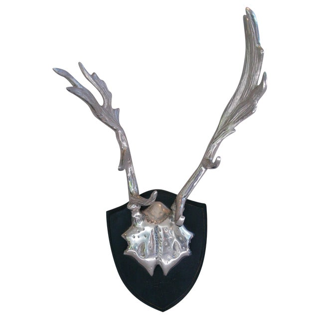 Image of Faux Mounted Stainless Steel Deer Trophy Antlers